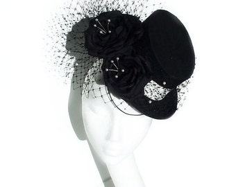 Black Top Hat with Veil and Silk Roses