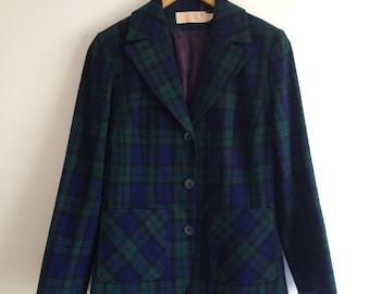 Vintage Pendleton Plaid Wool Jacket / Blue Green Tartan Blazer M