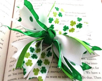 Green and White Shamrock Spike Hair Bow