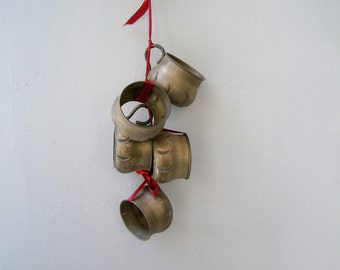 Vintage Antique Cups Mobile, Brass Bells Ornament, Red Ribbon Garland, Christmas Tree Decor, Repurposed Wall Art Rustic Decor