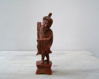 Wise Man Statues, 2 Old Chinese Men Figurine, Carved  Sculpture Mystic Red Brown Wooden Ethnic Figurines, Asian Home Decor Far East Wood Art