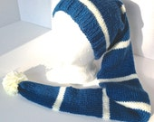 Knitted Stocking Cap with Pom Pom Teal Blue and Off White Knitted Hat Tobagan
