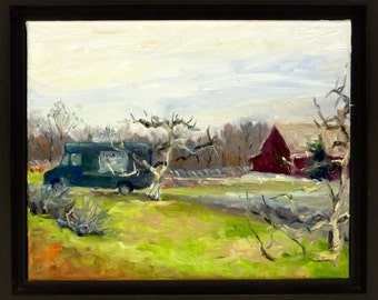 Landscape Oil Painting Winter Orchard Trees New Jersey