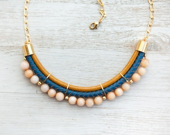 Meteorites Peach, Mustard and Navy Blue colors Jade Necklace by Pardes