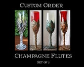 Custom Order Champagne Flutes with Vines and Leaves