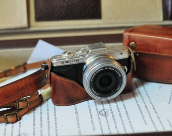 Cow leather COMBO case for Olympus EPL8 E-PL7 include vintage brown leather full case and leather strap