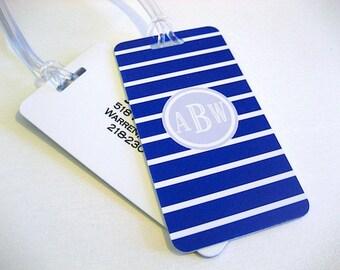 Luggage Tag Pair - Navy Blue and White Stripe Custom Luggage Tag - Roman Monogram - Personalized Luggage Tag - Travel Tag - Your Name