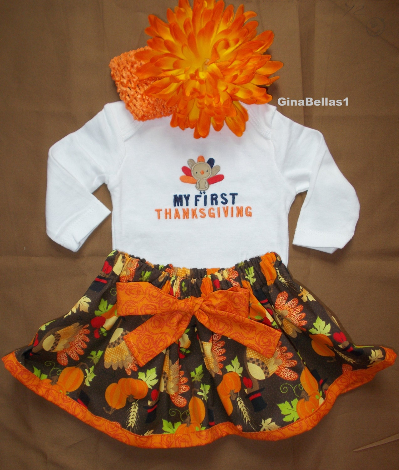 First Thanksgiving Day Baby Girl Outfit Shirt By Ginabellas1
