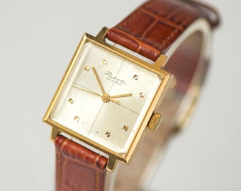 Vintage tomboy watch, New Wave dandy style watch, gold plated wristwatch, square face design watch, handmade strap new