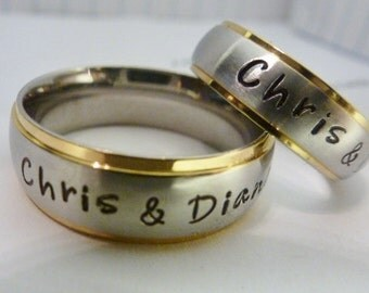 his her matching rings personalized rings wedding bands promise rings couples