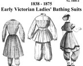Victorian Bathing Suit Pattern: Multi Size Historical Sewing Pattern - 1800-4