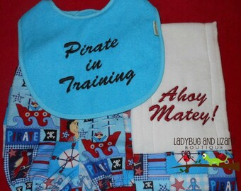 Baby Boy's Pirate Diaper Cover, Burp Cloth and Bib Gift Set - Sizes XXS-L
