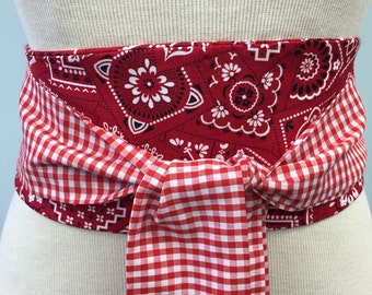 Red obi belt , Red bandana obi sash, gingham obi belt , red cotton obi , western style obi sash belt, backyard picnic belt