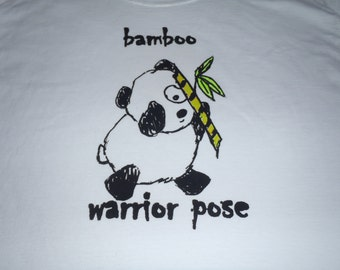 Adorable panda bear doing the warrior yoga pose on a man's large t-shirt....original silk screen design in black, yellow & green added