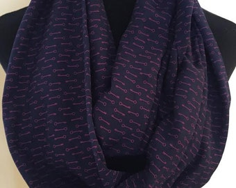 New Long Blue and Magenta Key Print Infinity Scarf