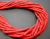 Coral Color Beads-- Dyed Coral 4mm x 3mm Tube Heishi Beads -- 1 STRAND  (S49B4-03)