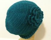 Woman Soft Beanie In Teal, Chemo Crochet Beanie Hat With Flower, Usa Seller