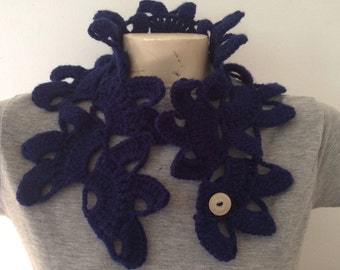 WINTER SALE Woman Navy Flower Collar Neck Scarf with Button, Usa Seller