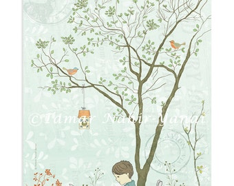 Print original art, room decor - Tree and rabbit