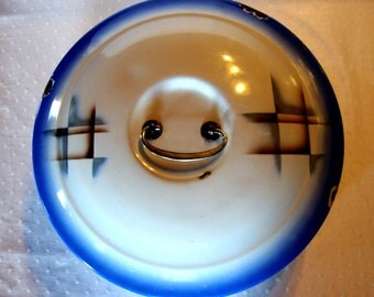SALE SALE Enamelware round bread box pan blue white airbrushed art nouveau design