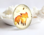 Fox Handmade Oval Photo glass Cabochons Image Glass Dome 30x40mm 18x25mm 13x18mm 10x14mm- (P2352)