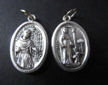 Traditional Italian Made Reverisble Saint Padre Kolbe, Medal Charm, St. Maximilian, Patron Saint of Addicts, Drugs, Alcohol Substance Abuse,