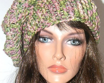 Crochet slouchy beret/tam/hat - Green and Pink