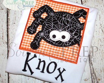Boy Box Spider Halloween Applique Shirt - Spider Applique Designs - Halloween Shirt