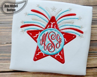 4th of July Patriotic Monogram Applique shirt - Summer Shirt - Summer Designs - 4th of July
