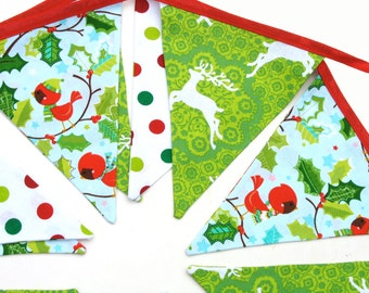 Christmas Bunting - Red / Green Flags . Stunning! - Xmas Party Handmade Banner, Decoration . RETRO STYLE