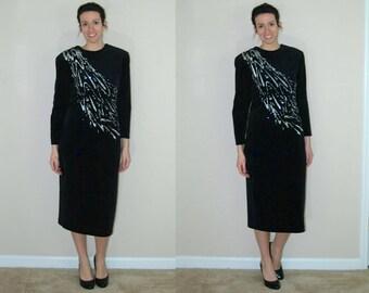 1980s Black Velvet Dress with Silver Glitter