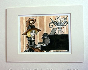 Halloween art print cute witch playing piano Halloween gift idea
