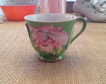 Vintage  Authentic Noritake Occupied Japan Floral Tea Cup Gold Trim