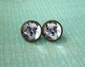 20% OFF - Black and white squirrel Face Animal Cabochon Stud Earring,Earring Post,Cute Gift Idea