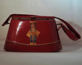 "Leather  vintage couture   handbag ""  NUDAS VERITAS""   unique piece retro chic  art bag   steampunk bag french touch"