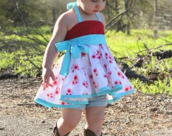 Baby Suzie's twirly halter top and Dress PDF Pattern sizes newborn to 18/24months