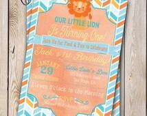 Little Lion Birthday Invitation Safari Birthday Boy Birthday 5x7 Printable Baby Boy Safari Party