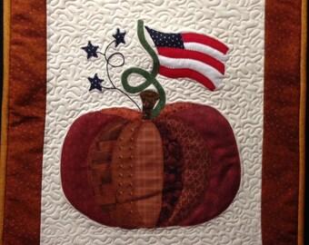 Machine Quilted & Appliqued Pumpkin Patriotic Flag  Wall or Door Hanging
