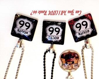 Route 66 Memorabilia Glass Pendant - Handmade