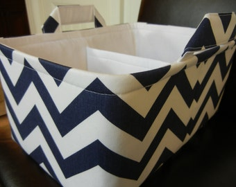 "LG Long Diaper Caddy 8"" x 12"" x 6""(choose COLORS)""One Divider -Baby Gift-Fabric Storage Organizer-Chevron-""Navy Blue Zigzag"""