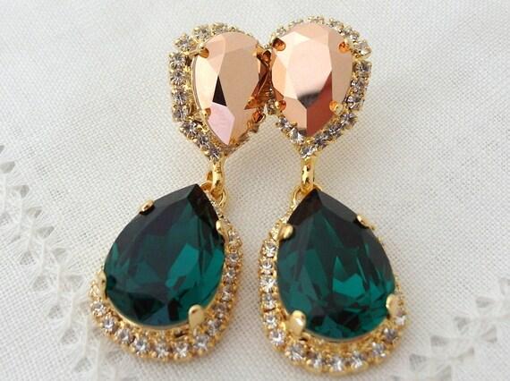 Emerald earringsEmerald green rose gold crystal Chandelier