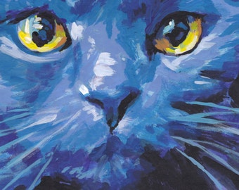 Russian Blue Cat portrait art print of pop bright colorful painting 13x19