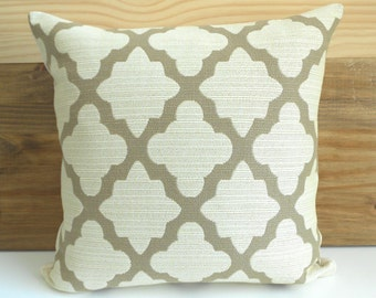 Double sided, Tan and ivory morrocan geometric quatrefoil decorative throw pillow