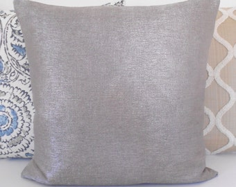 Silver solid metallic decorative pillow cover, accent pillow, throw pillow