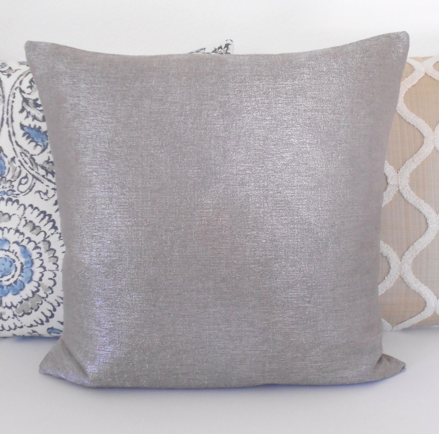 Clearance Silver solid metallic decorative pillow cover