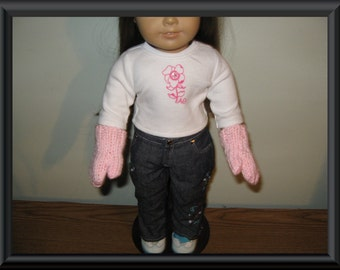 """Hand Knit light pink mittens for 18 inch 18"""" dolls will fit American Girl"""