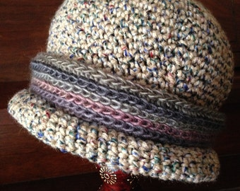 Downton Abbey hat, women's large hat, removable hatband, two included with hat, buff tweed, other sizes made to order
