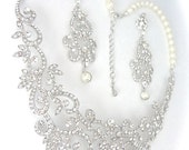 Bridal jewelry set ~ Rhinestone and pearl necklace and earrings set  ~ Statement Jewelry ~ Bib necklace ~ Wedding ~ Pageant ~ ALEXIS