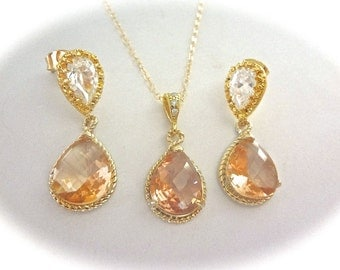 Champagne - Earrings and necklace set -Gold filled- 14k Gold over Sterling Cubic Zirconia earrings - High quality - Bridal jewelry - gift