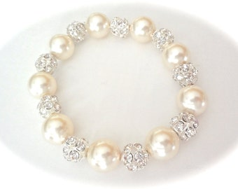 Chunky pearl bracelet - Bridal jewelry - Statement bracelet - Swarovski pearls and crystals - LARGE fireballs - Brides bracelet - LOLITA